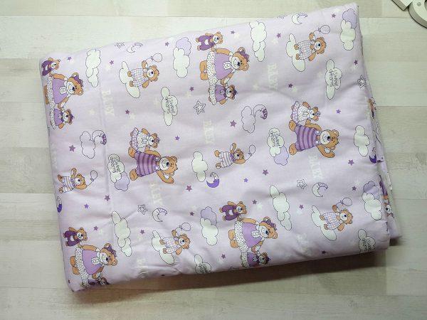 Набор в кроватку сиреневый с мишками 1