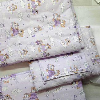 Набор в кроватку сиреневый с мишками