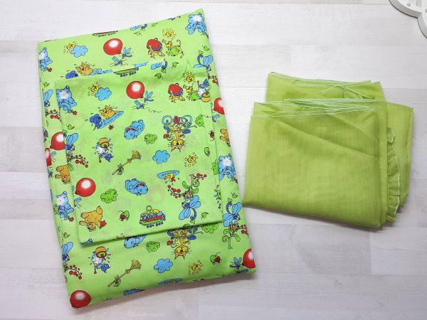 Набор в кроватку зеленый с шариками 3