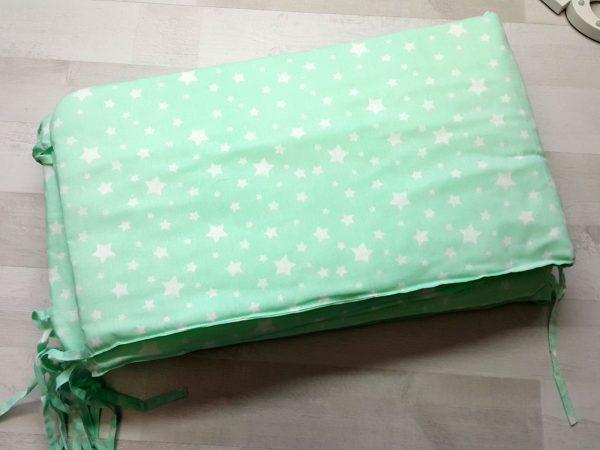 Набор в кроватку зеленый со звездами 2