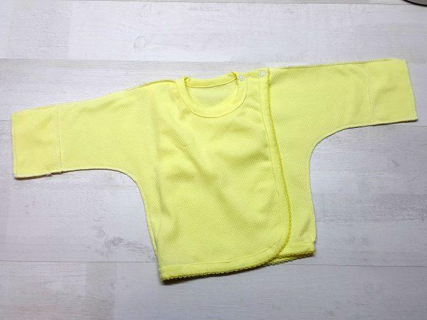 Распашонка на двух кнопках с царапкой желтая