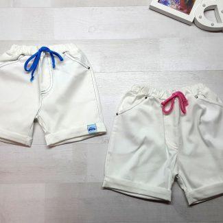 Шорты белые с отворотом и шнурком