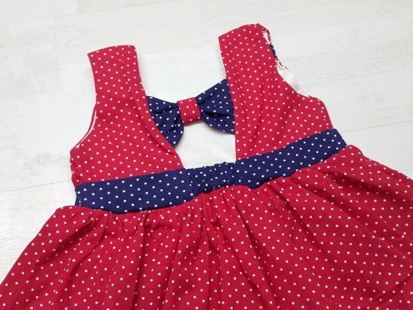 Платье летнее в горошек красное 2