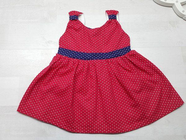 Платье летнее в горошек красное