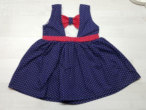 Платье летнее в горошек синее 2