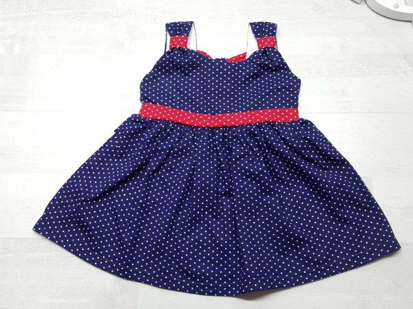 Платье летнее в горошек синее