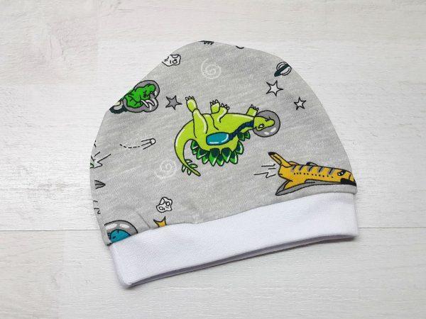 Шапочка для малышей тонкая серая с динозаврами