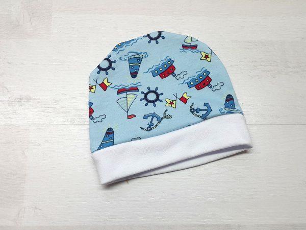 Шапочка для малышей тёплая голубая