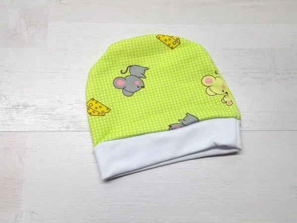 Шапочка для малышей тёплая зелёная
