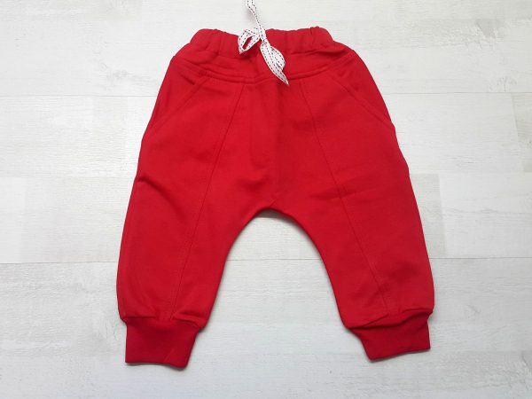 Штаны-багги тёплые на манжете красные