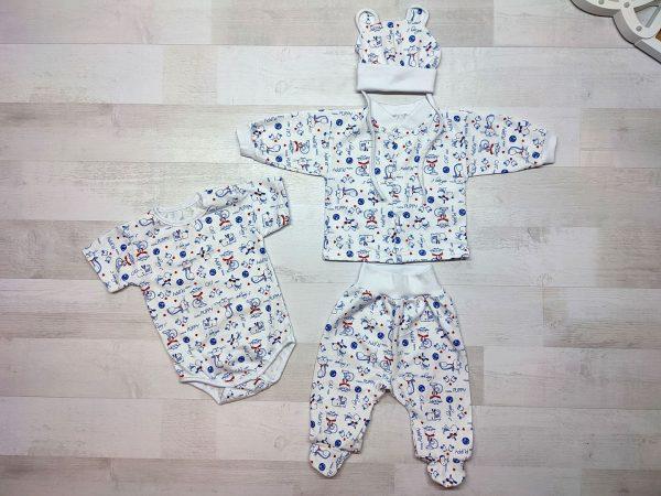 Комплект одежды для новорождённого коты и собачки