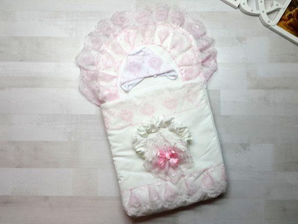 Конверт для выписки на 2 молниях розовый