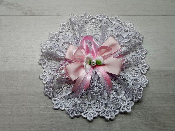Лента с кружевом для выписки розовая