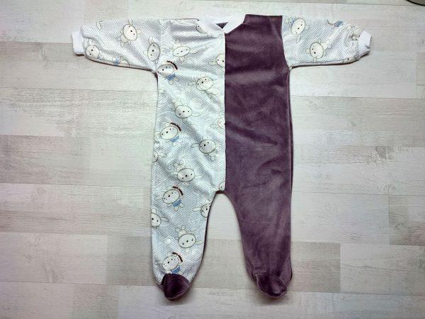 Комбинезон велюр для новорожденных коричневый
