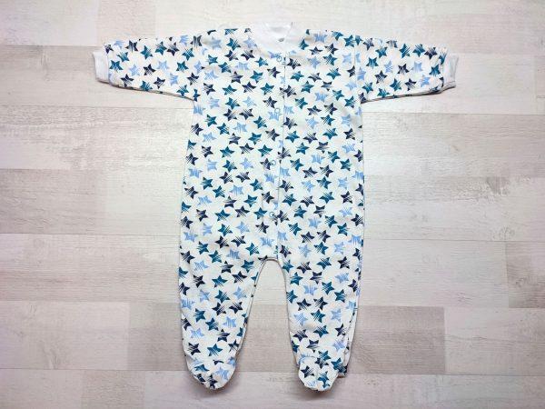 Комбинезон для новорожденного белоземелька голубые звезды
