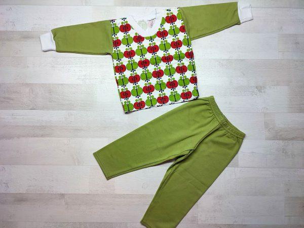 Пижама детская футер зеленая